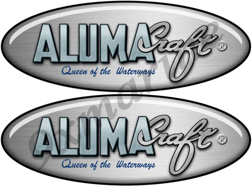Two Aluma Craft Remastered Oval Stickers 10 inch long each