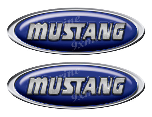 """Two Mustang Vinyl Oval Stickers 10"""" long each"""
