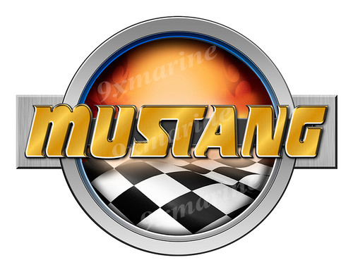 Mustang Racing Boat Round Sticker - Name Plate