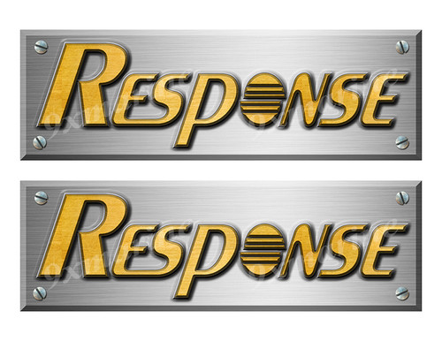 """Response Boats Stickers Brushed Metal Look - 10"""" long"""