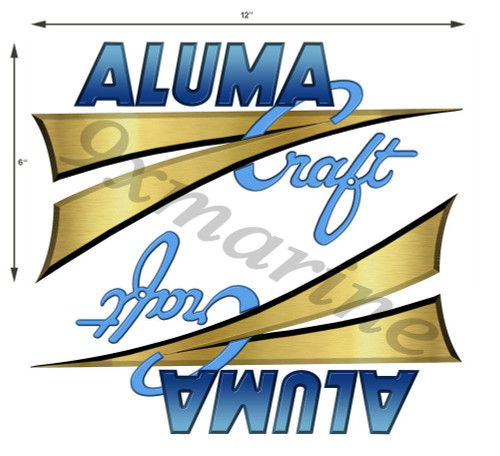 "Two Aluma Craft Remastered Stickers 12"" x 6"" each die-cut with transfer tape"