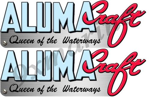 Two Aluma Craft Remastered Stickers 15 inch long each die-cut