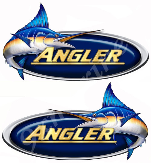 Two Angler 15 inch Die Cut Stickers Left/ Right