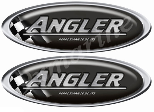 Two Classic Angler Oval Stickers