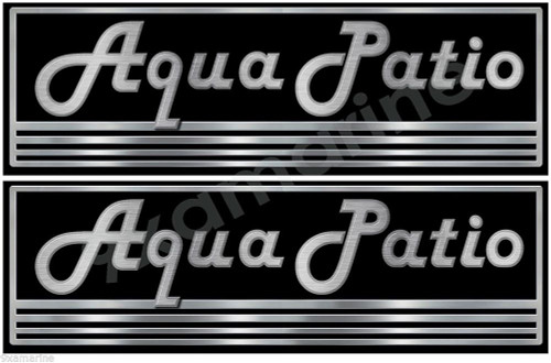 "Aqua Patio Vintage Sticker for restoration project. 10""x3"" each. Not OEM"