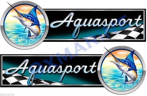 "Two Aqua Sport Designer Stickers 10""x3"" each. Not OEM"