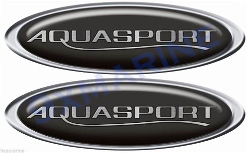 "Two Aqua Sport Boat Oval Classic Stickers 10""x3.5 each"