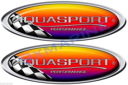 "Two Aqua Sport Boat Oval Racing Stickers 10""x3.5 each"