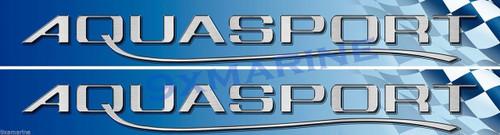 "Two Aqua Sport Racing Stickers 16""x1.5"" each"