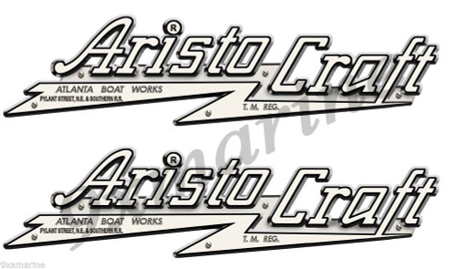 "Two Aristo Craft Stickers for wooden boat restoration project 10""x3"" ea. Not OEM"