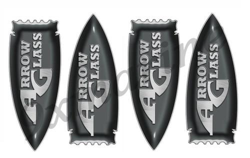 "Four Arrow Glass Striping Ends 6"" X 2.5' Each"