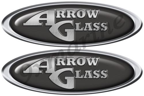"""Two Arrow Glass Oval Stickers 10""""X3.5"""" each"""