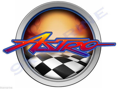 "Astro Customize-able Boat Racing Round Sticker 7"" Diameter"