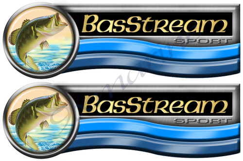 "Two Bas Stream Designer Stickers. Remastered 10""x3.5"" long each"