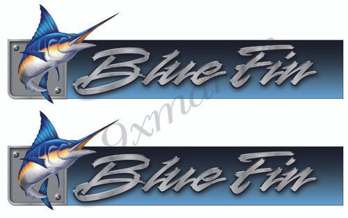Blue Fin Custom Stickers. Remastered for boat restoration project