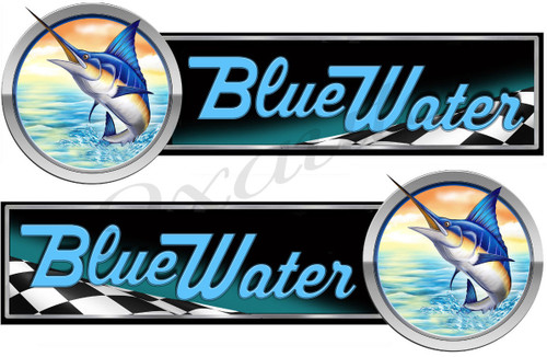 "Two Blue Water Race Marlin Stickers. Remastered 10""x3.5"" long each"