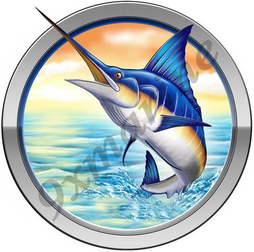 Marlin Round Sticker for Mako, Boston Whaler, Pro Line, Robalo & Center Console