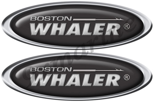 "Boston Whaler Classic Oval Sticker Set. 10"" X 3.5"" each - laminated"