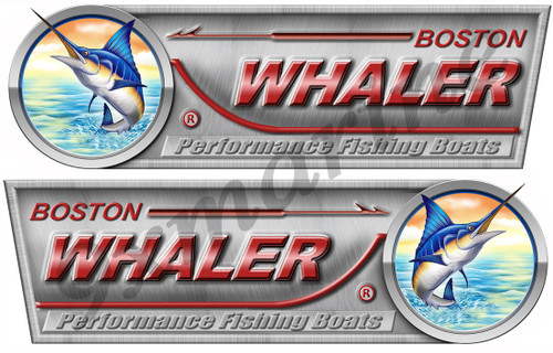 "Boston Whaler Designer Sticker Set. Left/Right 10"" X 3.5"" each - laminated"