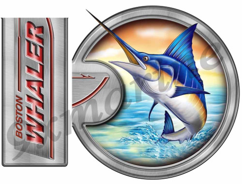 "Two Part Boston Whaler Boat Laminated Sticker 13""X7"""