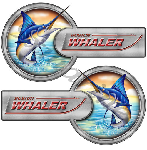 "Two Boston Whaler Laminated Remastered Sticker Set 16""X9"" each"