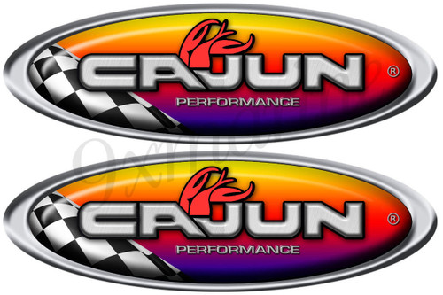 Two Cajun Boat Racing Oval Stickers