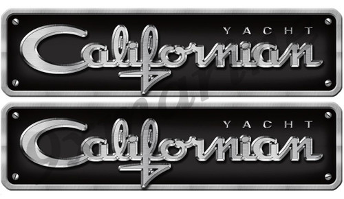 "Two Californian Sticker Chrome Style Replica In Vinyl 16""X2.8"" Die Cut"