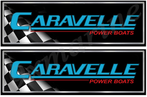 "Two Caravelle Long Black Classic Stickers 10"" Long"