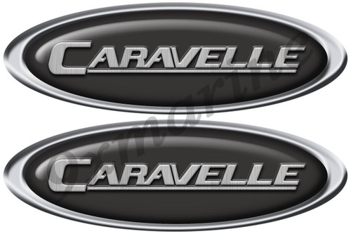 "Two Caravelle Classic Oval Stickers 10"" Long"
