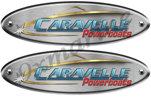 "Two Caravelle Oval Brushed Metal Look Stickers 10"" Long"