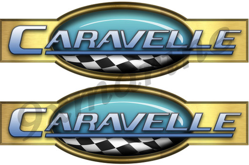 "Two Caravelle Retro Stickers 10"" Long"