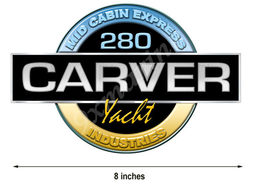 Carver Boat Remastered Round Sticker with model name