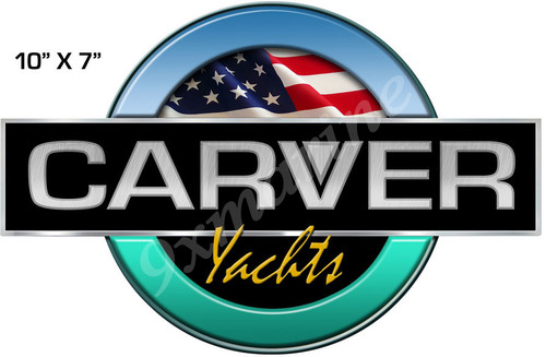 "Carver Boat Remastered Round Generic Sticker 10"" X 7"""