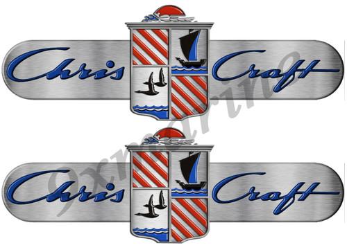 """Chris Craft Custom Stickers Brushed Metal Look 16"""" long. Die-cut"""