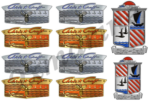 Chris Craft Vintage Crest Sticker Set - Remastered