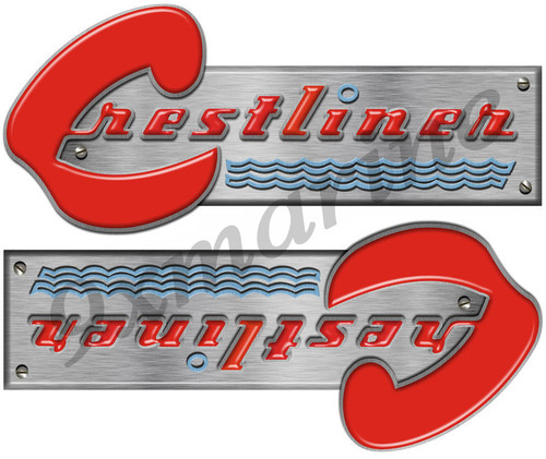 """Two Small Crestliner Stickers - 9"""" x 3.25"""" each"""