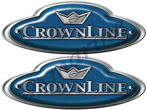 "CrownLine Boat Remastered Oval Blue Classic Stickers 10""X 3.5"" each"