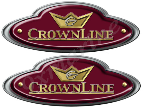 "CrownLine Boat Remastered Oval Classic Stickers 10""X 3.5"" each"