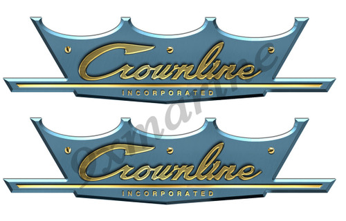"CrownLine Vintage Boat Remastered Stickers 10""X 3"" each"