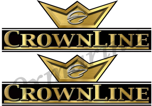 "CrownLine Boat Remastered Black&Gold Classic Stickers 10""X 3.5"" each"