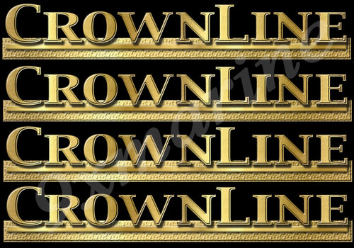 "4 CrownLine 10"" inches long stickers on a black background. Must be cut apart"