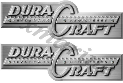 Two Dura Craft Brushed Metal Imitation Boat Stickers
