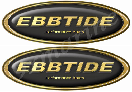 Ebbtide Boat Oval Gold Sticker Classic Set