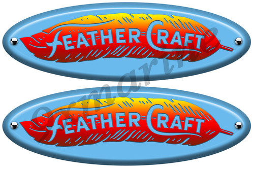 Two Feather Craft Retro Oval Vinyl Stickers