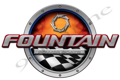 "Fountain Racing Round Sticker 16""X10"" each Die Cut"
