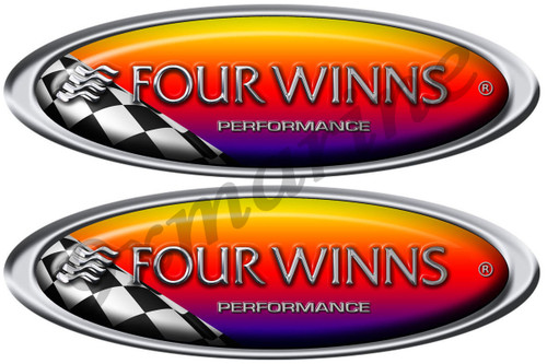 "Two Four Winns Oval Racing Stickers 10""X3.5"" each"