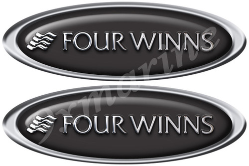 """Four Winns Boat Sticker Set - Classic Oval 10"""" Long X 3.5"""" Tall"""
