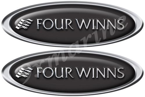 """Two Four Winns Boat Oval Stickers 15""""x4"""" each"""