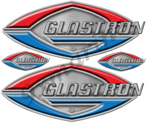 Glastron 4 Vintage Boat Stickers. Remastered stickers for boat restoration