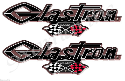 Two Glastron 3D Vintage Boat Stickers. 16 inch Die Cut